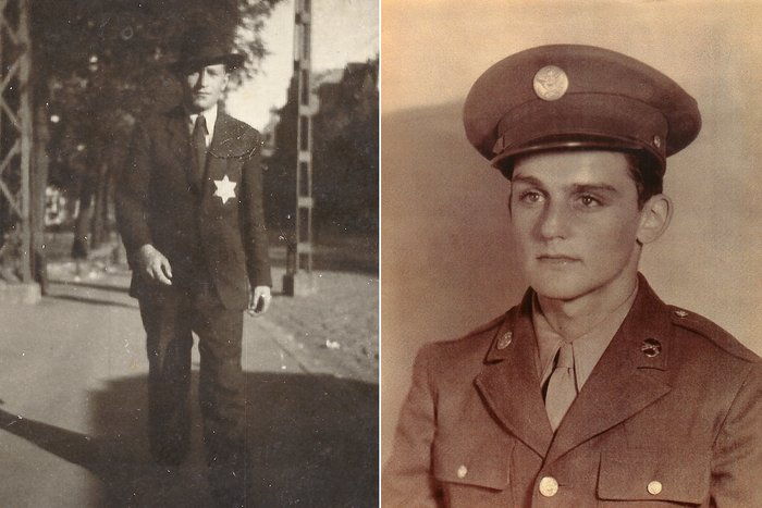 (Left) Nandor Katz in Budapest, Hungary, circa 1943. (Right) Alan Moskin, 18, at Camp Blanding in Florida, on Oct. 30, 1944.